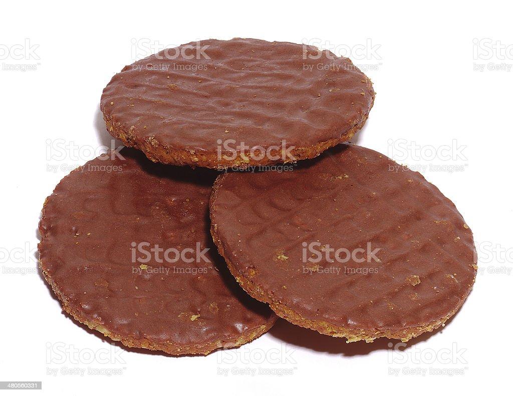 Chocolate hob nobs stock photo