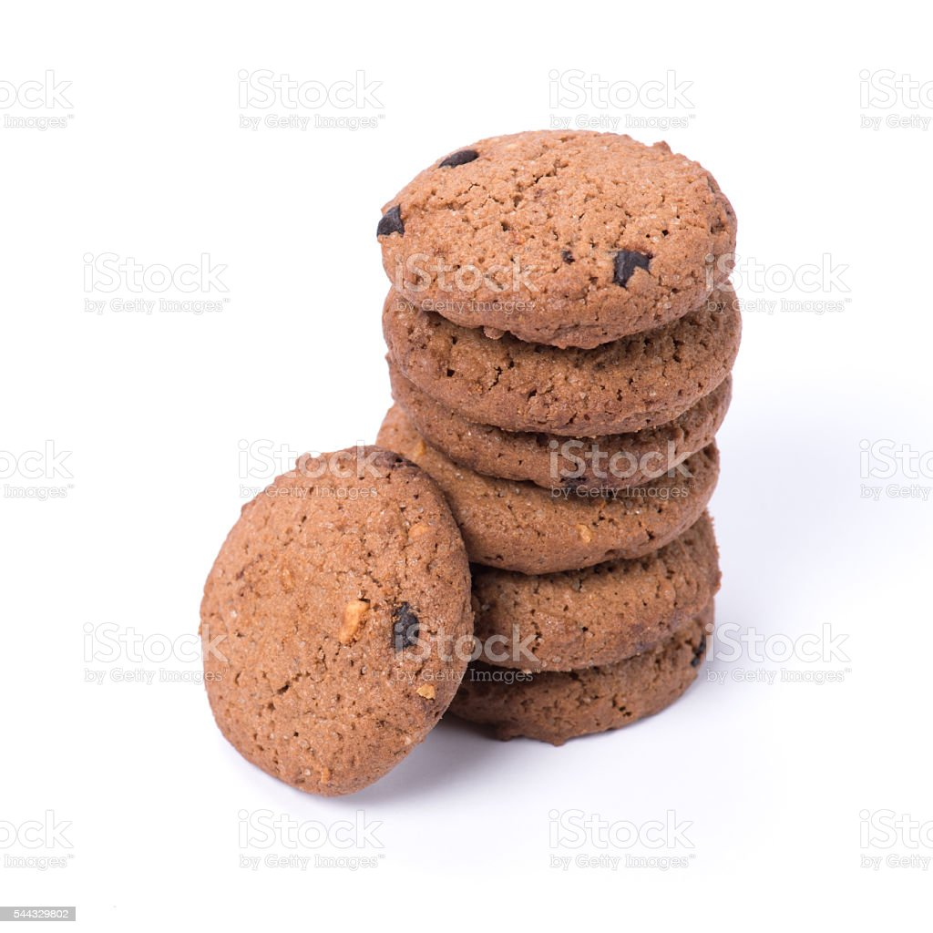 Chocolate homemade pastry cookies isolated on white background stock photo