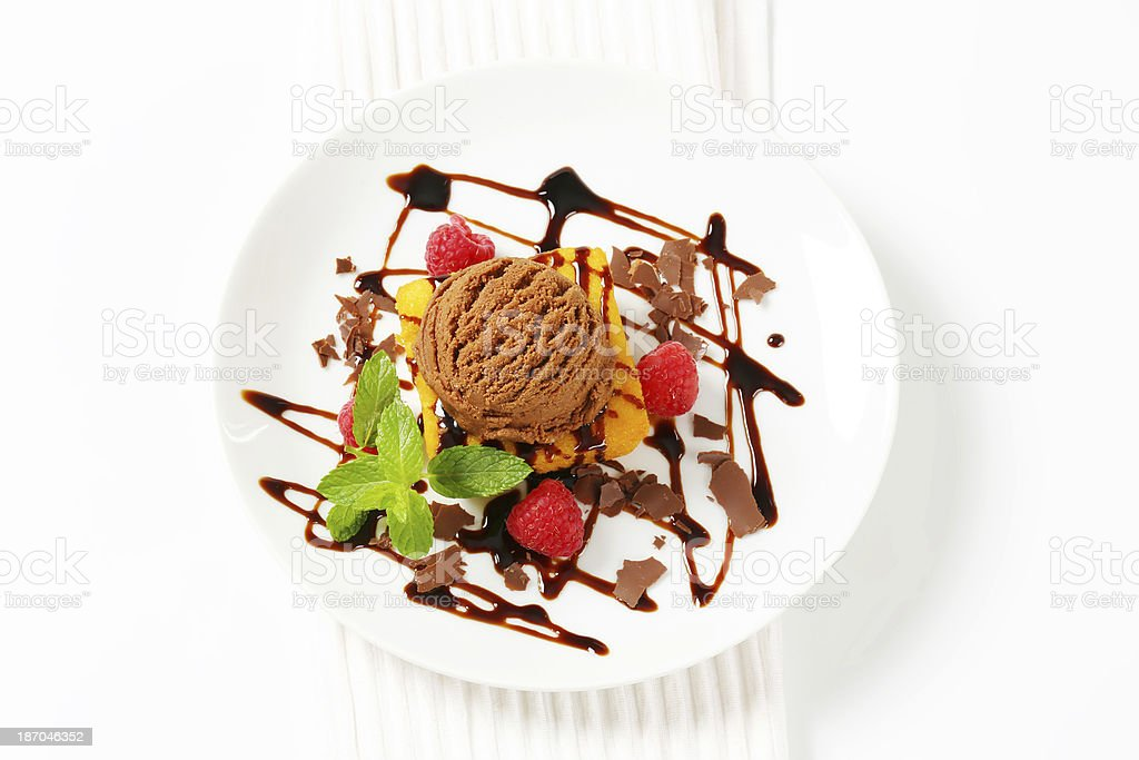chocolate ice cream and custard cake royalty-free stock photo