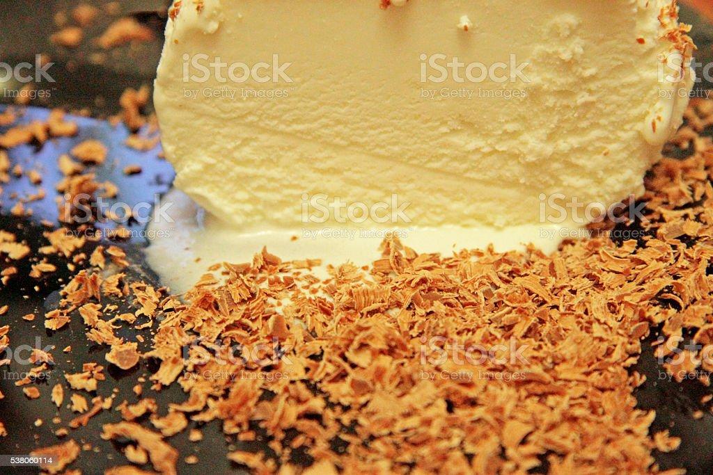 Chocolate Ice Cream And Hardered Chocolate Over stock photo
