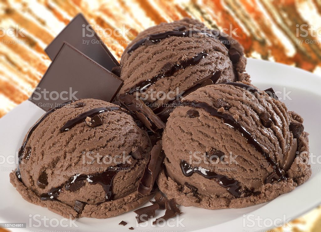 Chocolate ice cream balls composition royalty-free stock photo