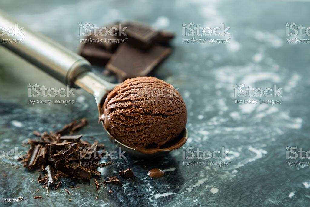 Chocolate ice cream in scoop stock photo