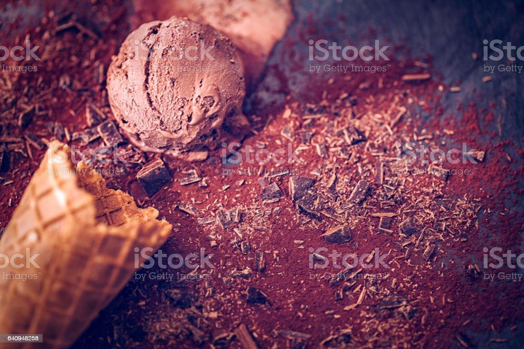 Chocolate Ice Cream on a Background stock photo
