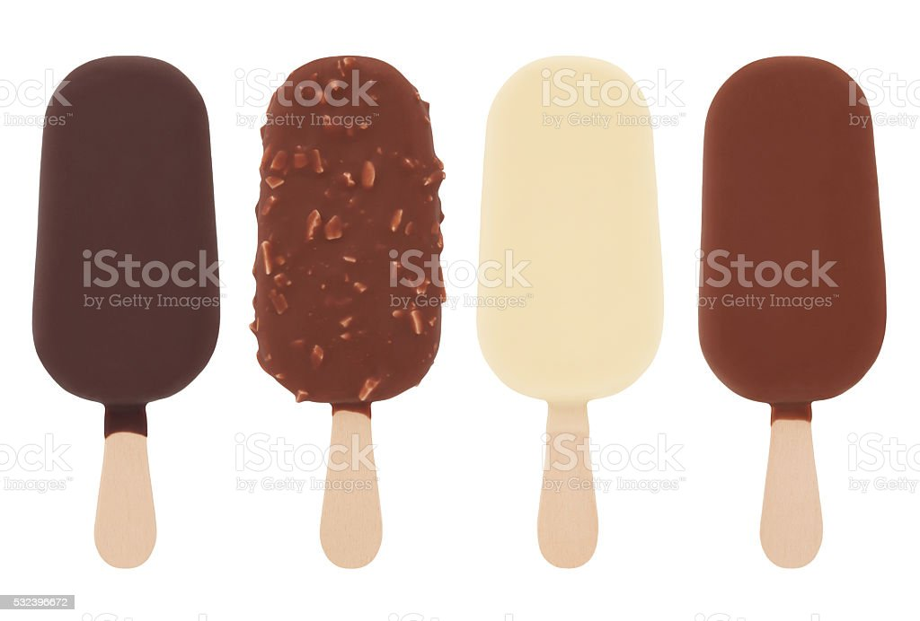 Chocolate Ice Cream Pops (with path) stock photo