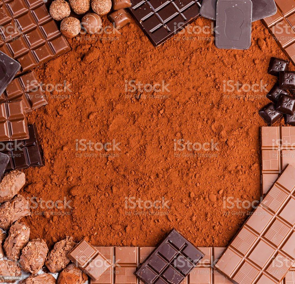 chocolate in cocoa stock photo