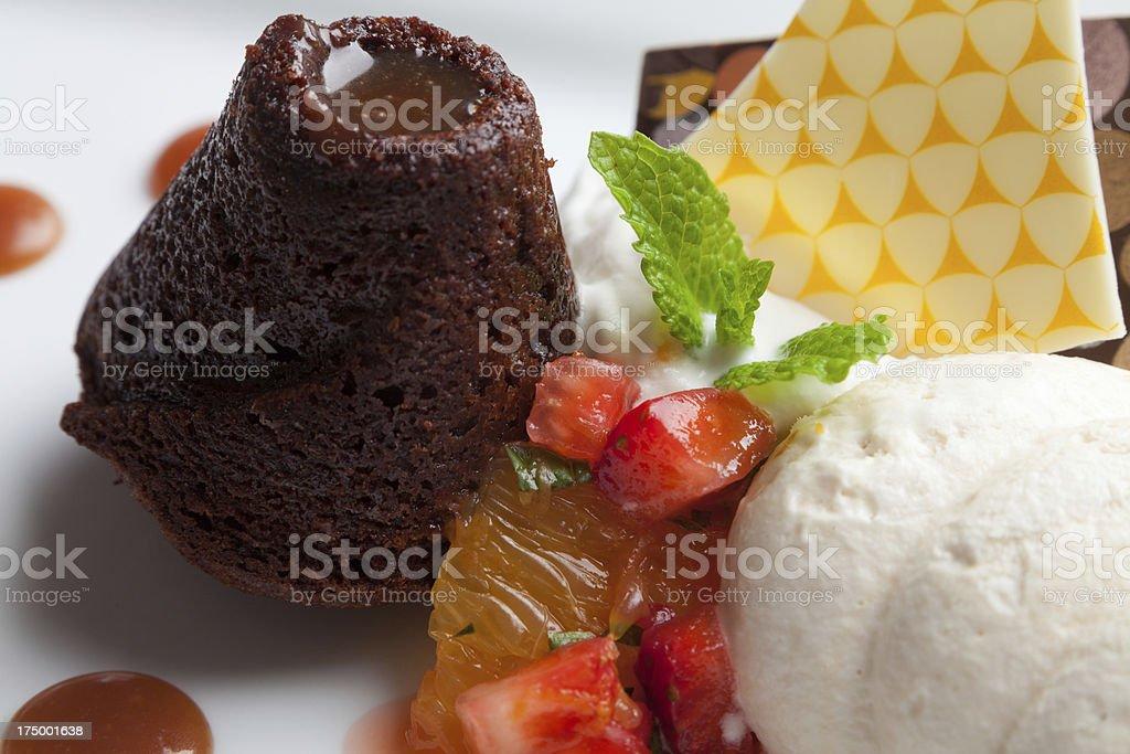 Chocolate lava cake stock photo