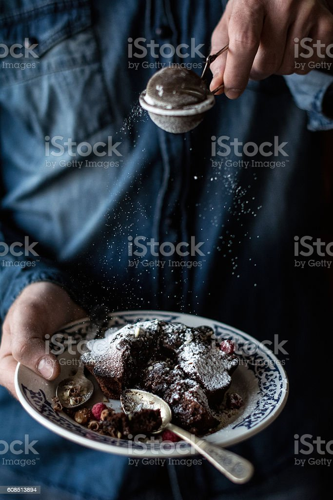 Chocolate lava cake with berries stock photo
