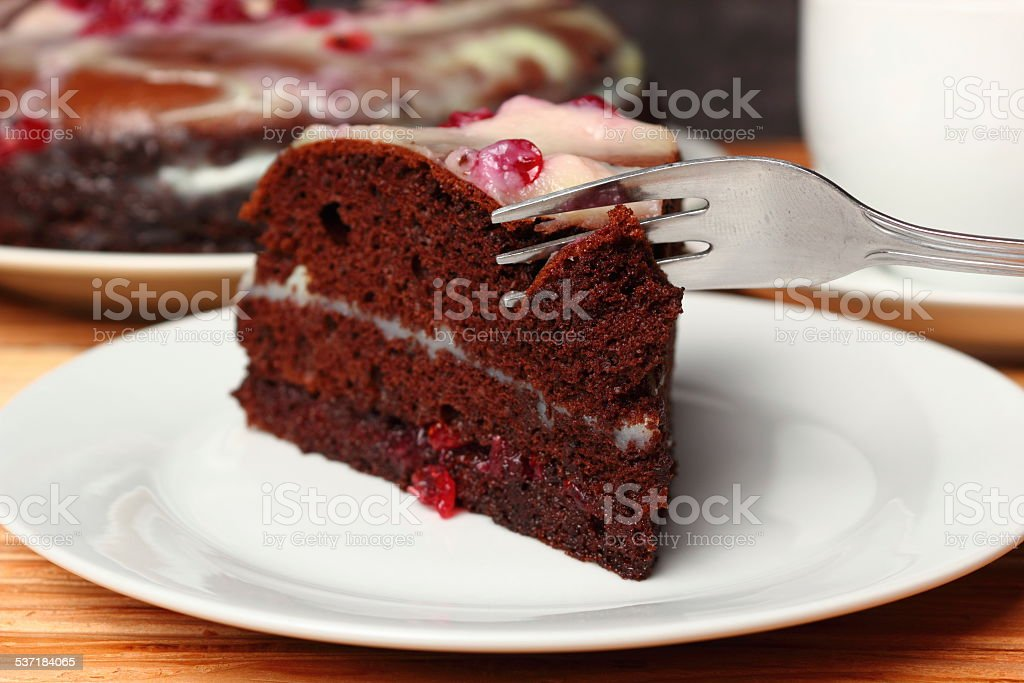 Chocolate Layer Cake with Cream and Red Currant Jam stock photo