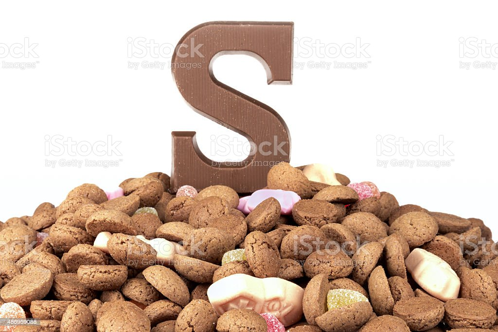 Chocolate letter and ginger nuts, Dutch sweets at 5 december stock photo