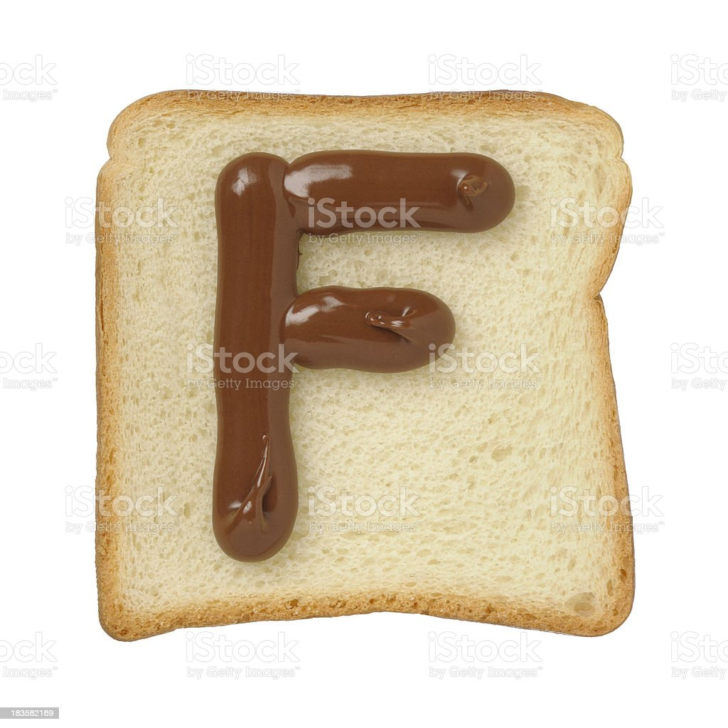 Chocolate letter F on a tinloaf slice, white background royalty-free stock photo