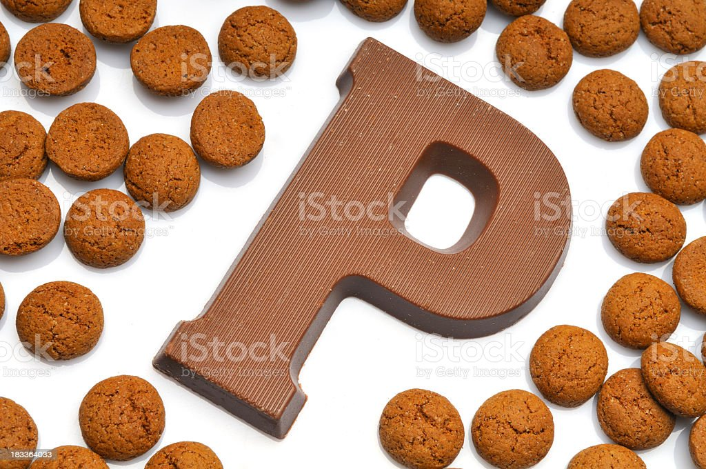 Chocolate letter P stock photo