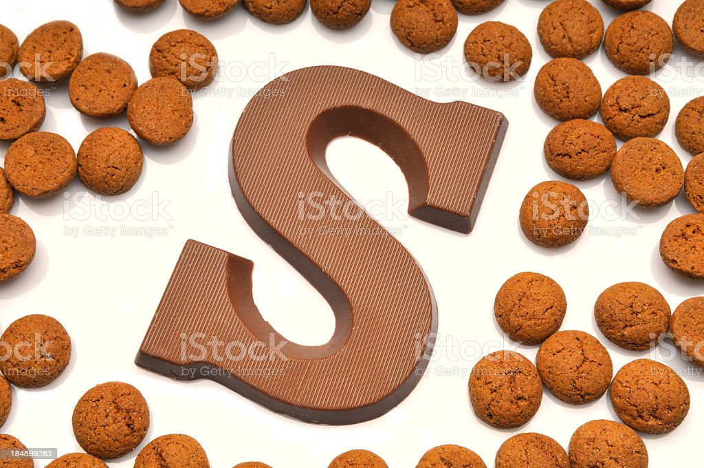 Chocolate letter S stock photo