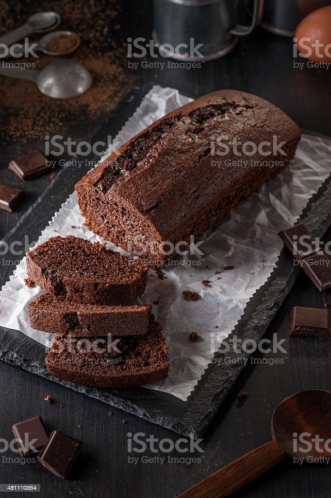 Chocolate Loaf Cake stock photo