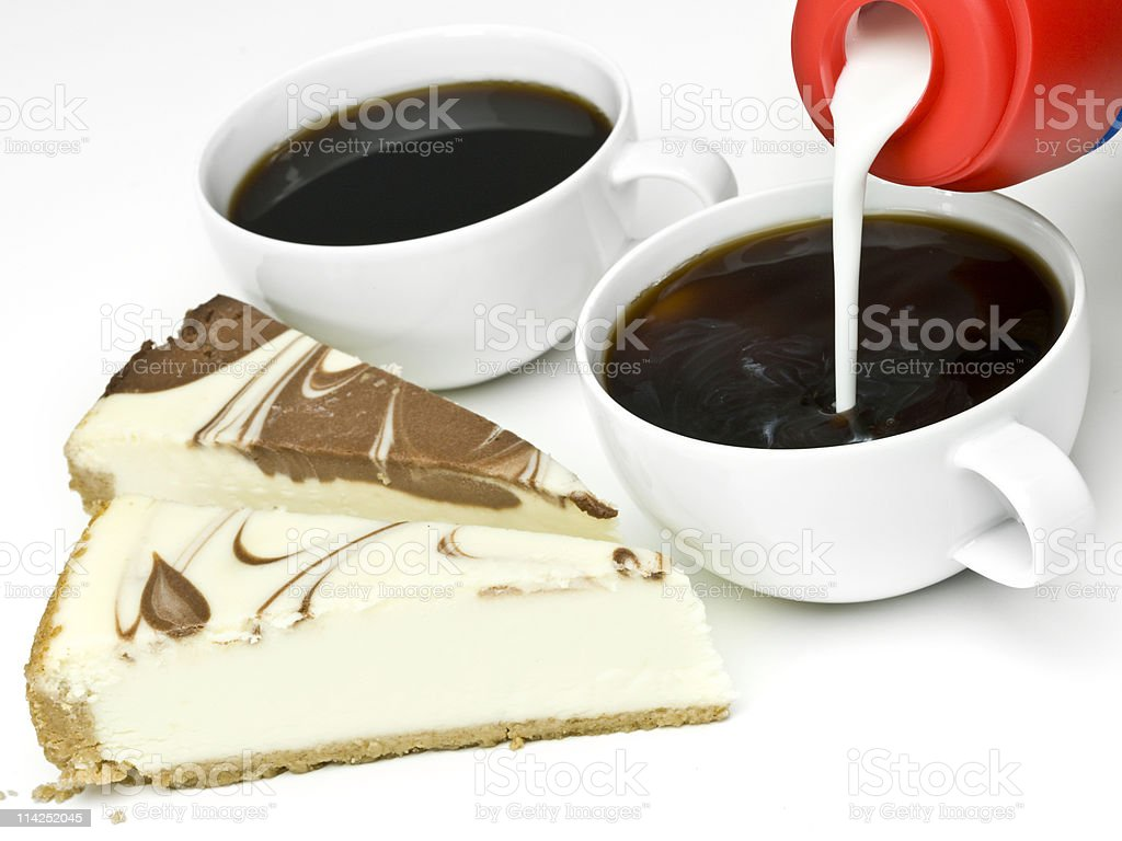 chocolate marble cheesecake and coffee royalty-free stock photo