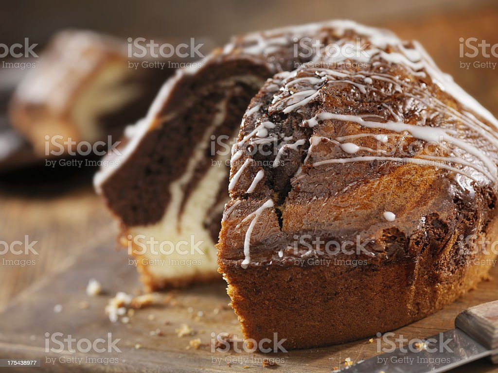 Chocolate Marble Pudding Cake stock photo