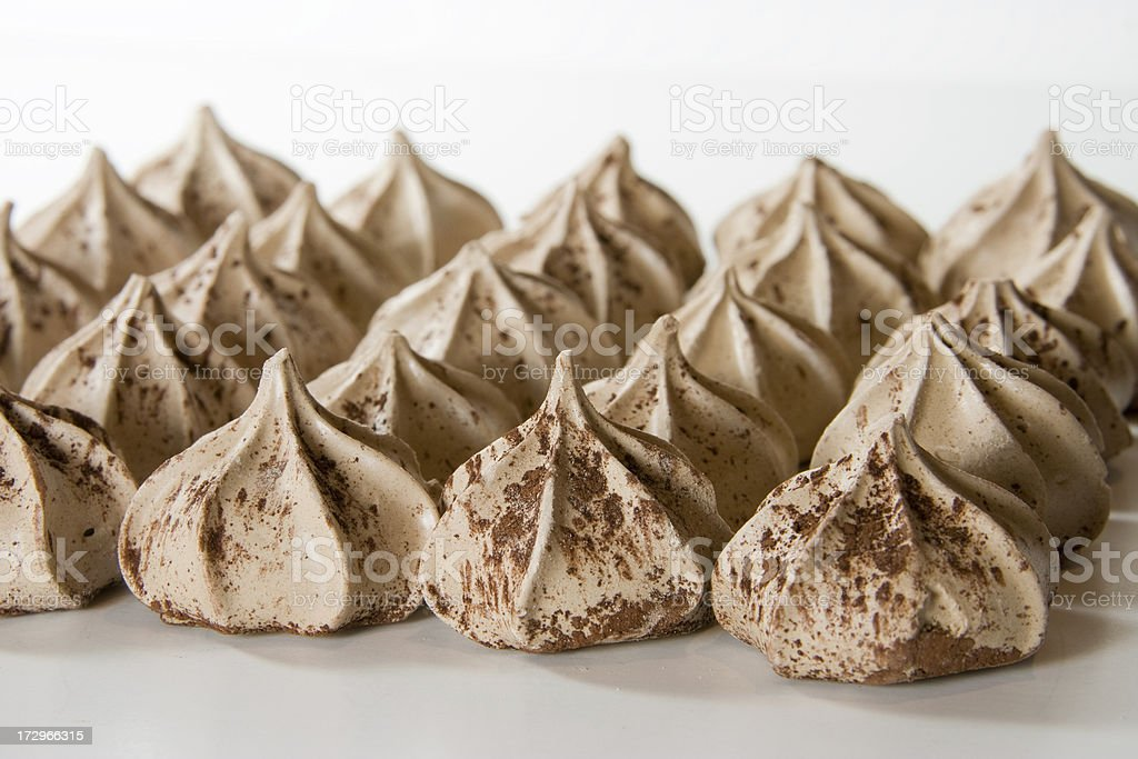 Chocolate Meringue Cookies Dusted with Cocoa stock photo