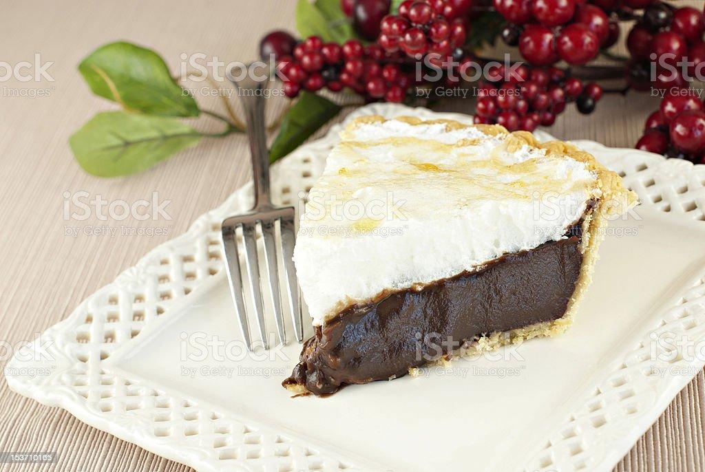 Chocolate Meringue Pie stock photo