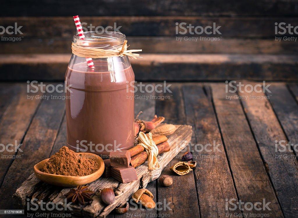 Chocolate milk in the jar stock photo