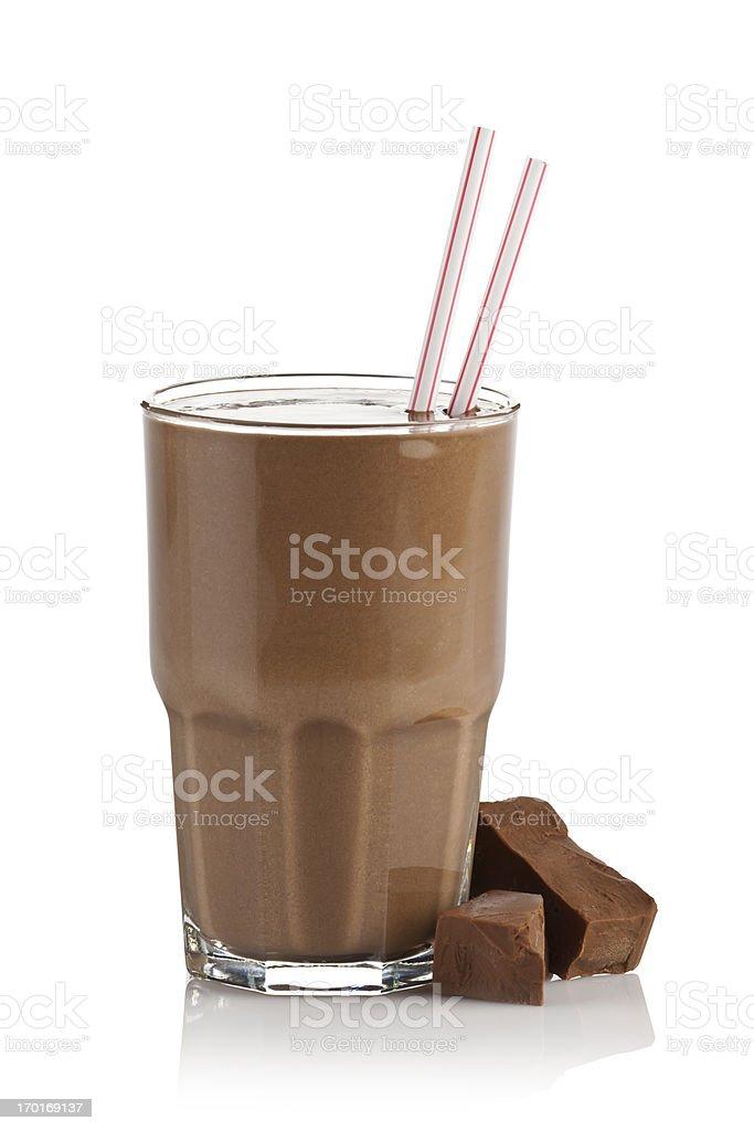 Chocolate milk shake smoothie on white background royalty-free stock photo