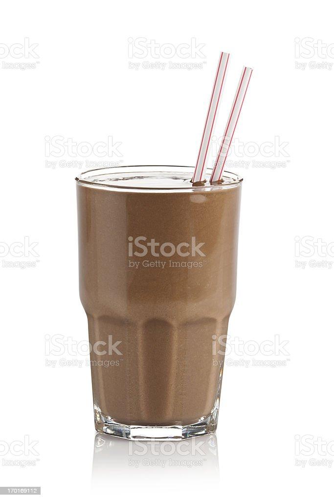 Chocolate milkshake glass against white background stock photo