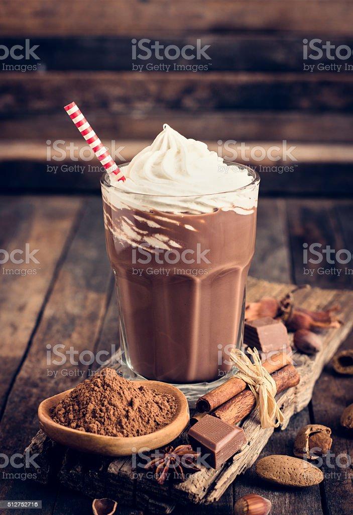Chocolate milkshake with whipped cream stock photo