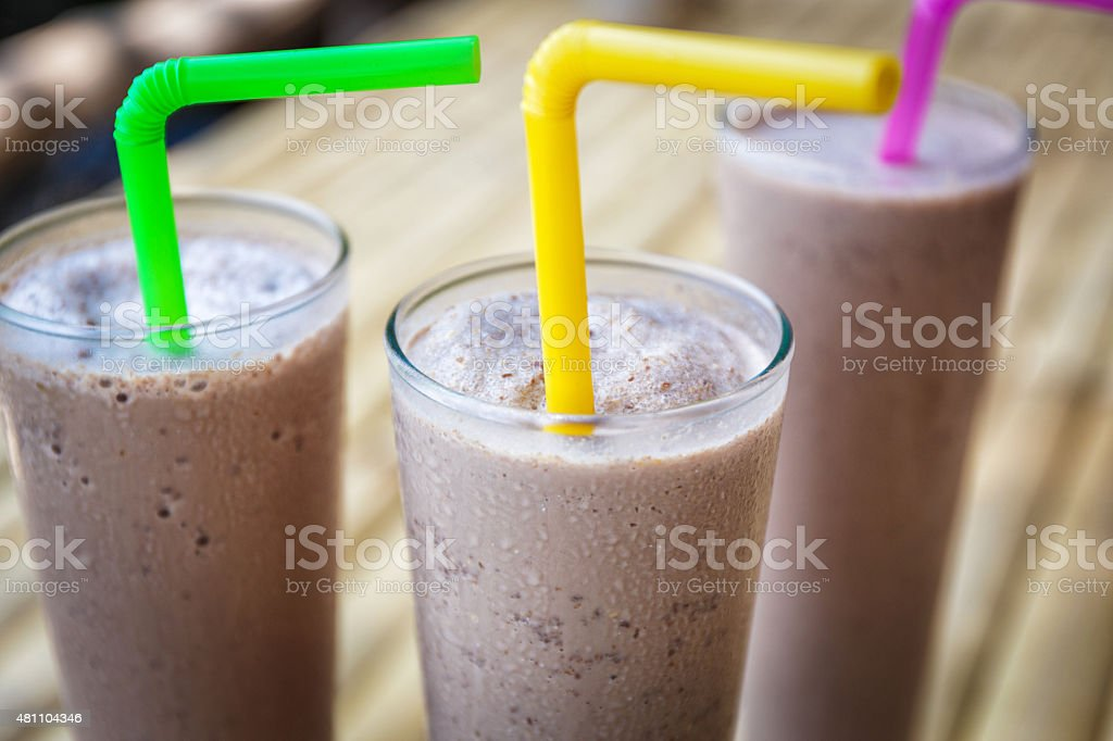 Chocolate milkshakes stock photo