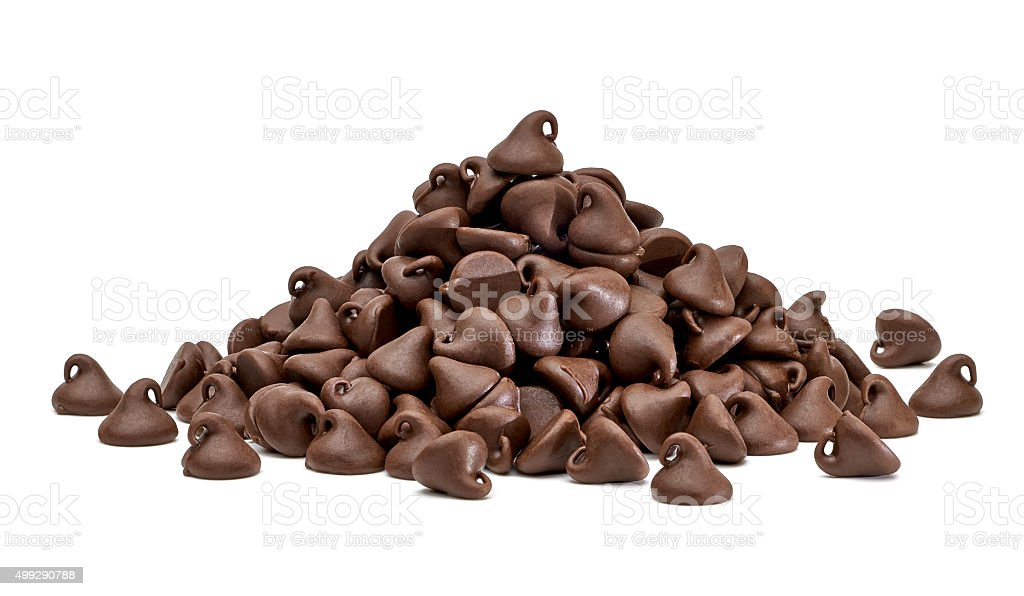 Chocolate morsels pile stock photo