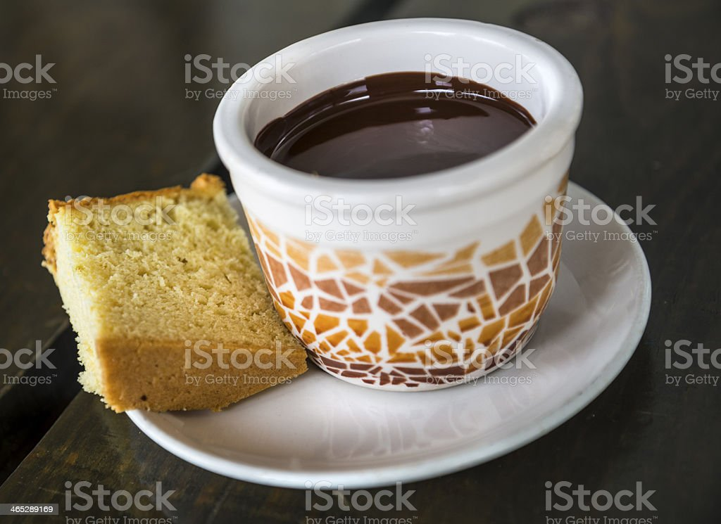 Chocolate mousse and cake stock photo