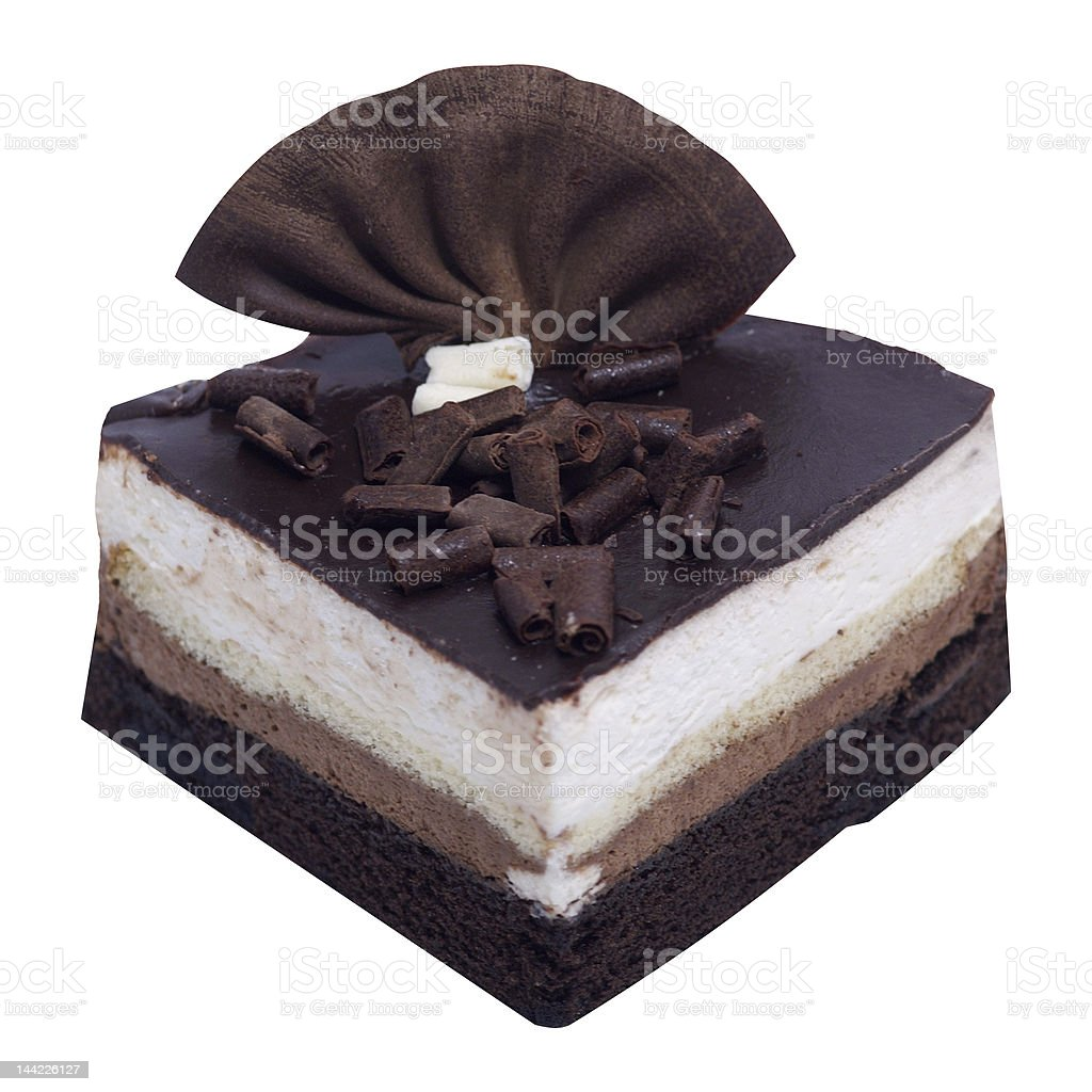 Chocolate Mousse Cake on White Clipping Path royalty-free stock photo
