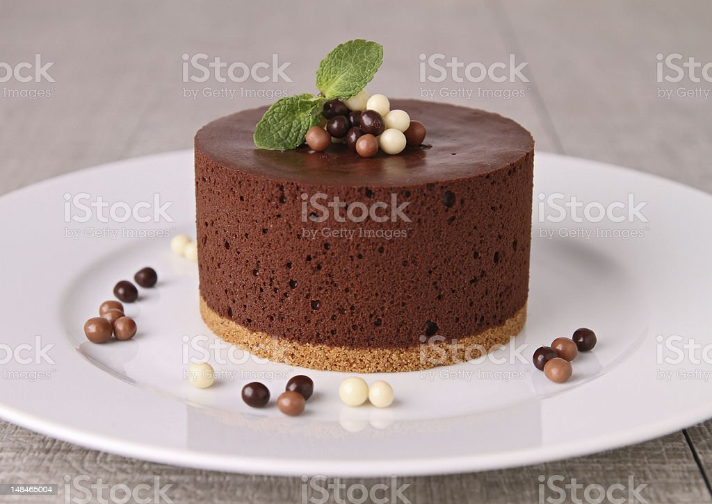 chocolate mousse cake stock photo