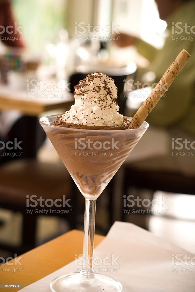 Chocolate Mousse Dessert, People Eating Food at Elegant Dining Restaurant royalty-free stock photo