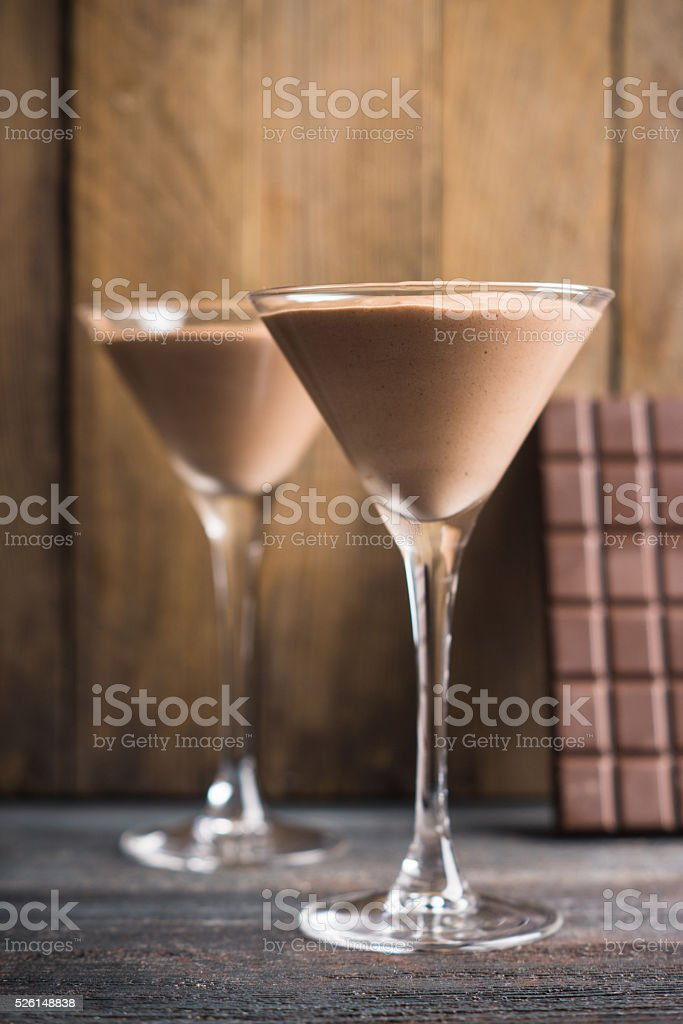 Chocolate mousse in martini glass stock photo