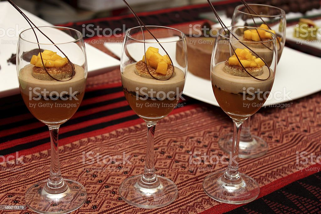 Chocolate mousse topped with fresh cream royalty-free stock photo