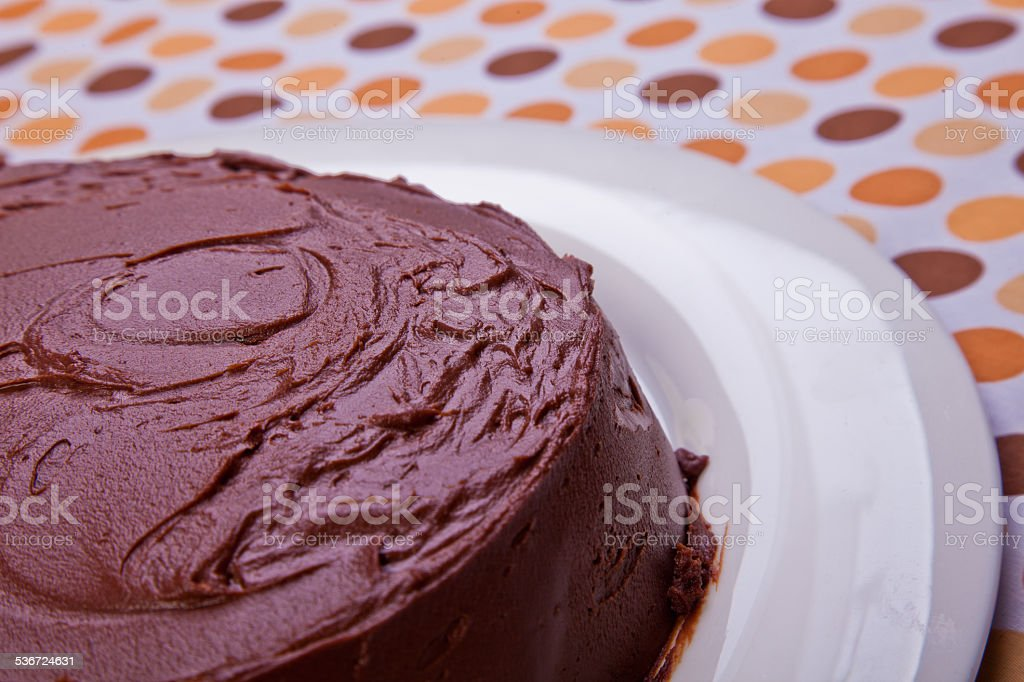 Chocolate Mud Cake on   serve dish on colorful background stock photo