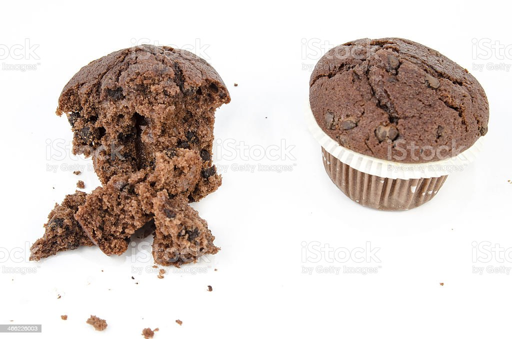 Chocolate muffin and crumbs royalty-free stock photo