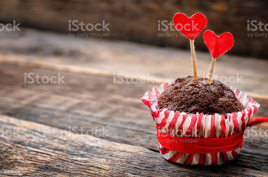 chocolate muffins for Valentine's day stock photo
