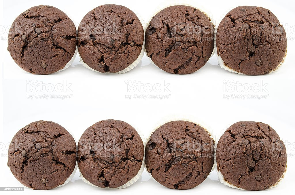 Chocolate muffins isolated on white royalty-free stock photo