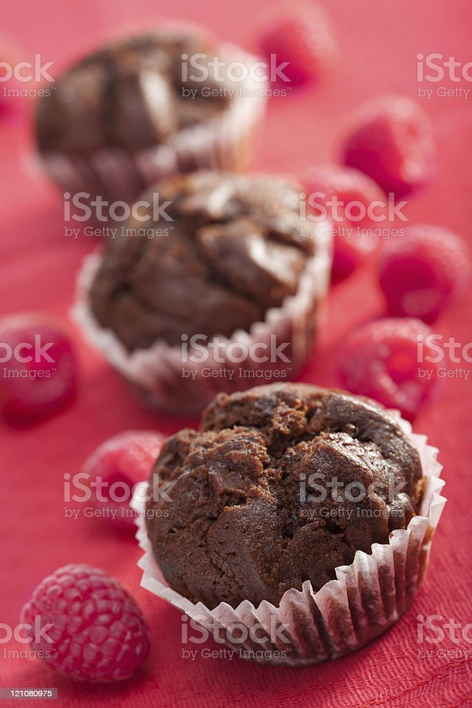 chocolate muffins with raspberry royalty-free stock photo
