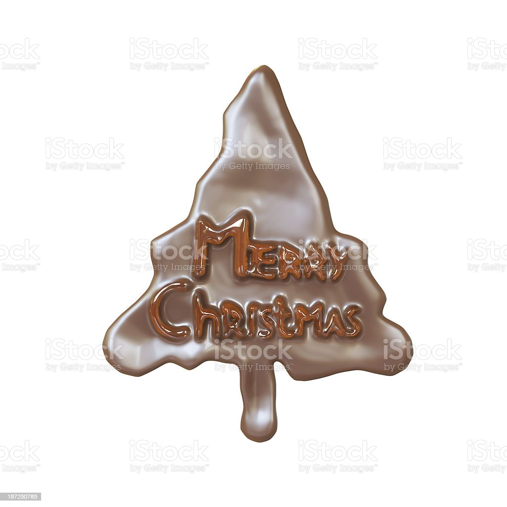 Chocolate New Year Tree With Honey Lettering Merry Christmas stock photo
