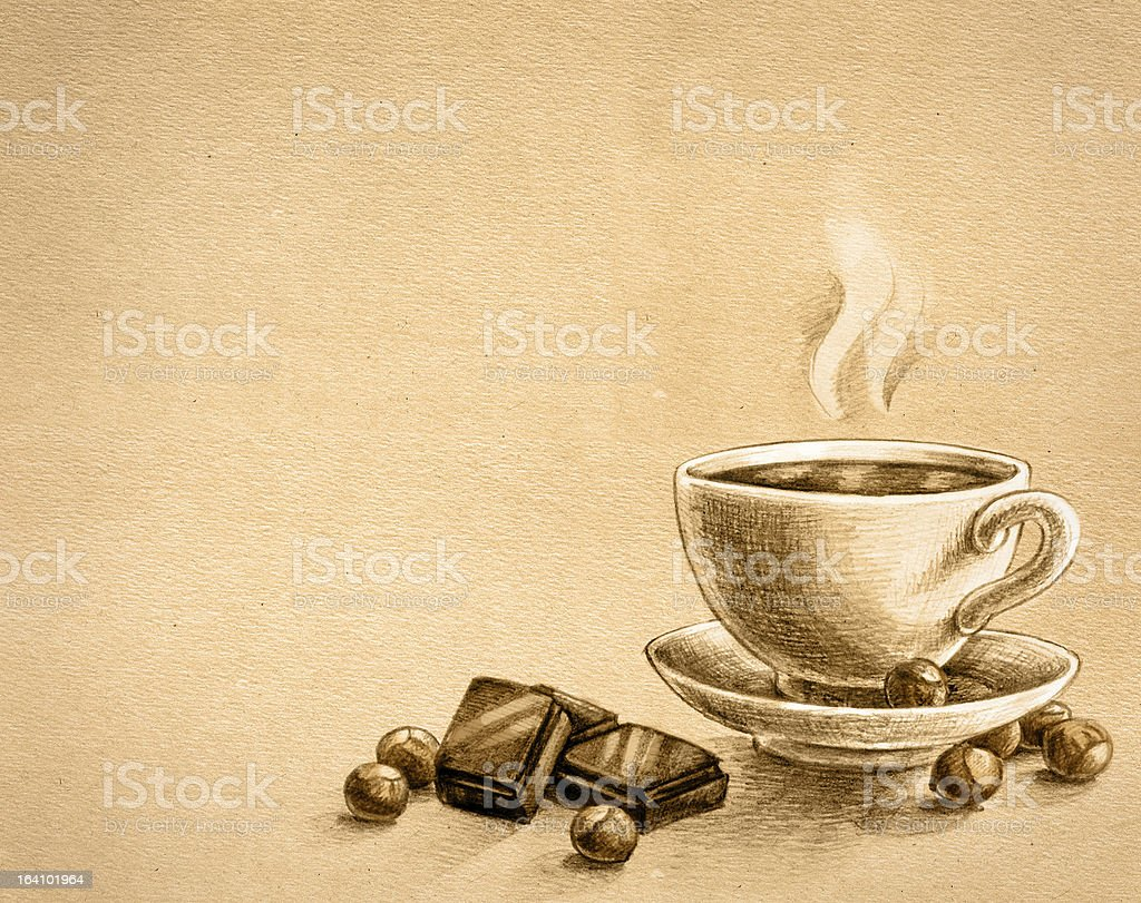 chocolate, nuts and cup of tea royalty-free stock photo