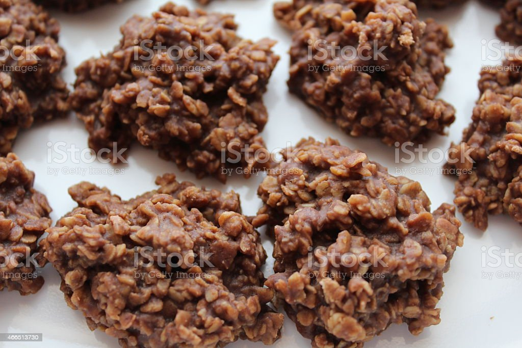 chocolate oatmeal drop cookies stock photo