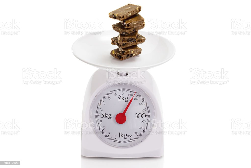 Chocolate on balance scale royalty-free stock photo