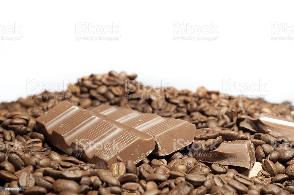Chocolate on coffee beans royalty-free stock photo