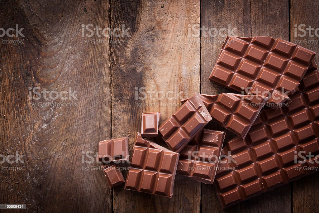 Chocolate on Rustic Wood stock photo