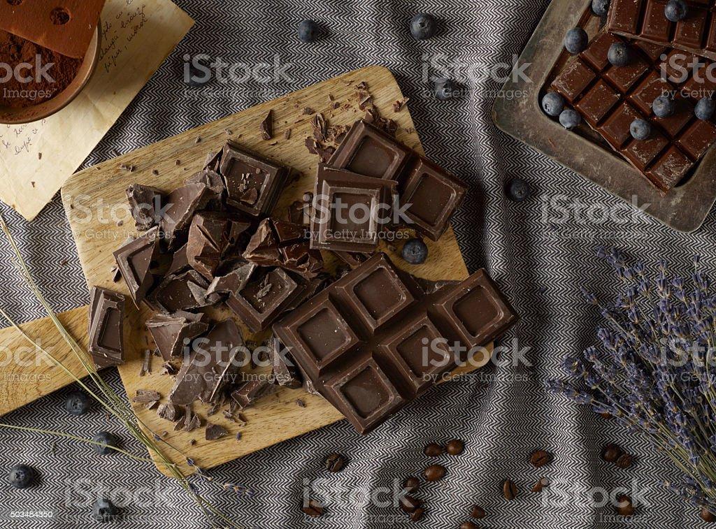 Chocolate on trencher stock photo