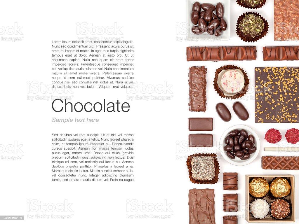 chocolate on white background stock photo