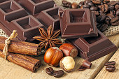 Chocolate on wood background - food