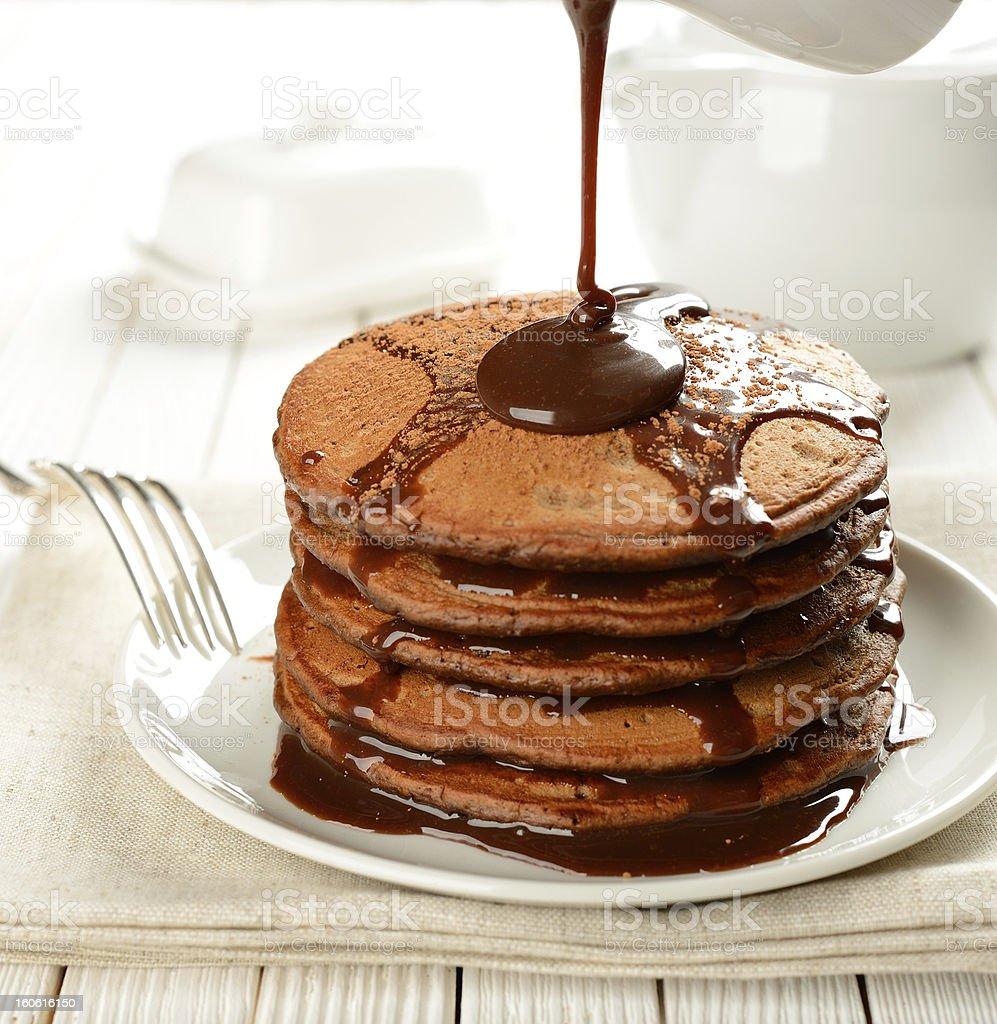 Chocolate pancakes royalty-free stock photo