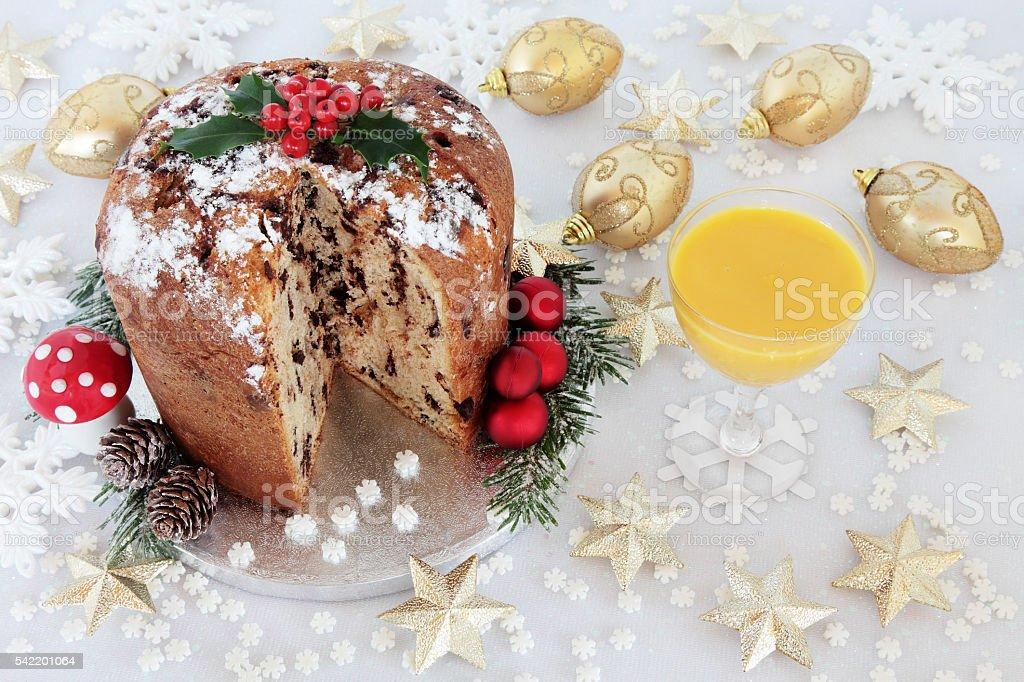 Chocolate Panettone and Egg Nog stock photo