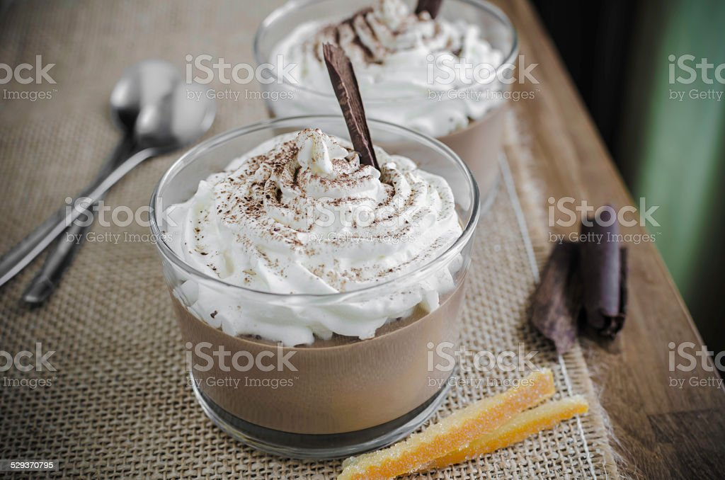 Chocolate panna cotta stock photo